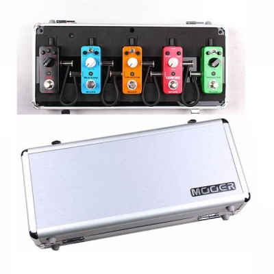 Firefly M5 MOOER - Flight case for 5 Micro Series Pedals with 5 plug multi DC power cable